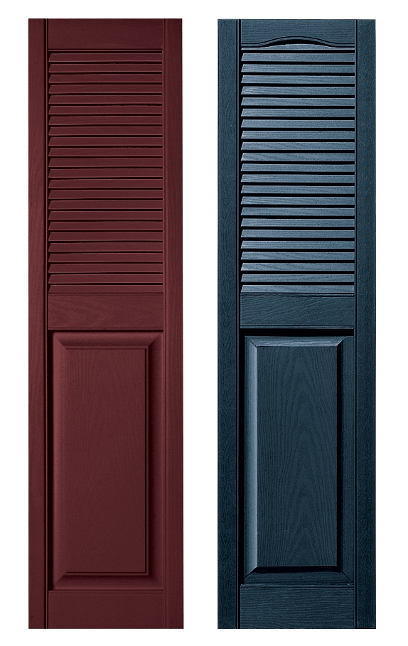 Louver panel combination custom vinyl shutter for 18 inch wide exterior shutters